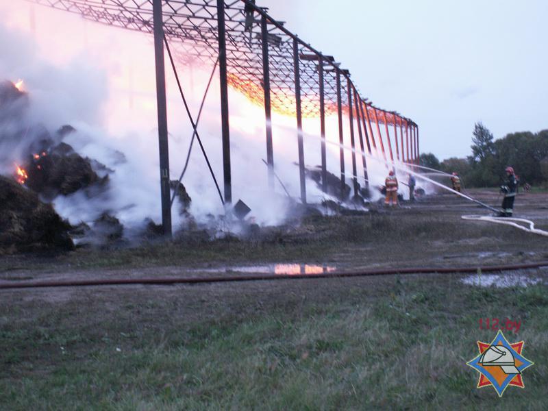 Пожар на льнозаводе в Сенно