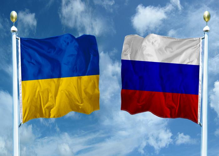 российский иукраинский флаги