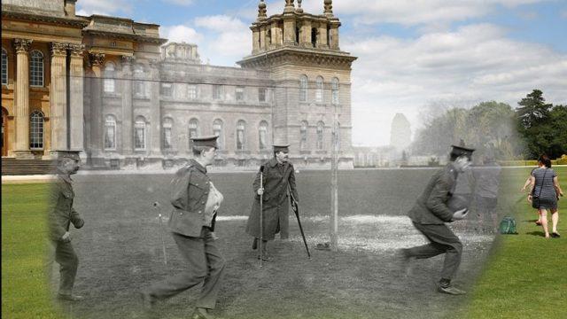 раненые солдаты играют в футбол