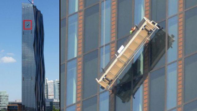 мойщики окон на небоскрёбе