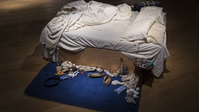 LONDON, ENGLAND - JUNE 27:  Tracy Emin's 1998 piece 'My Bed' on display at Christie's on June 27, 2014 in London, England. This iconic work from the YBA moment is being offered at auction for the first time and is estimated to sell for between 800,000 - 1.2 million GBP.  (Photo by Rob Stothard/Getty Images)