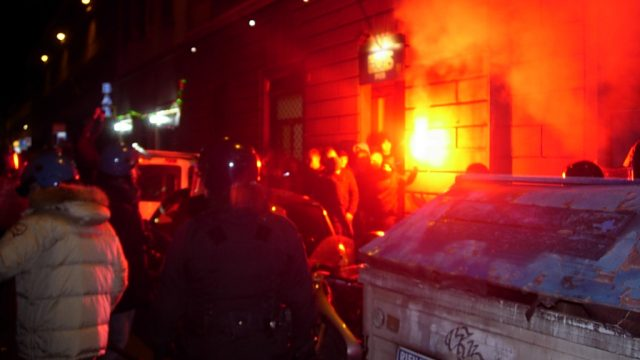 драка фанатов Динамо в Италии