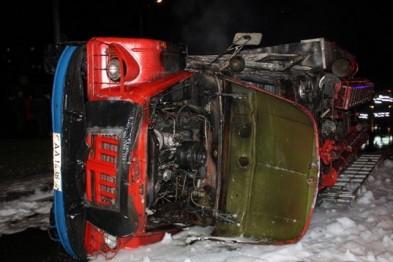 ДТП В Лиде: опрокинулась и загорелась пожарная машина