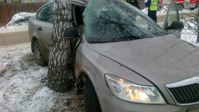 В Заводском районе автомобиль врезался в дерево