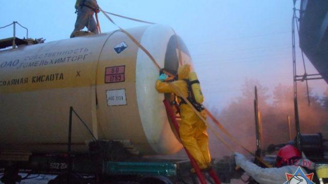 На станции «Осиповичи» произошла утечка опасного химического вещества