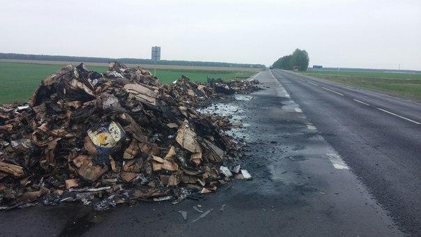 На трассе между Жлобином и Светлогорском полностью сгорела фура