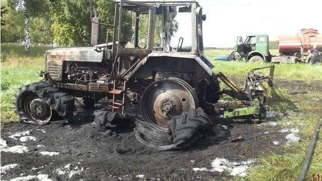 сгорел трактор