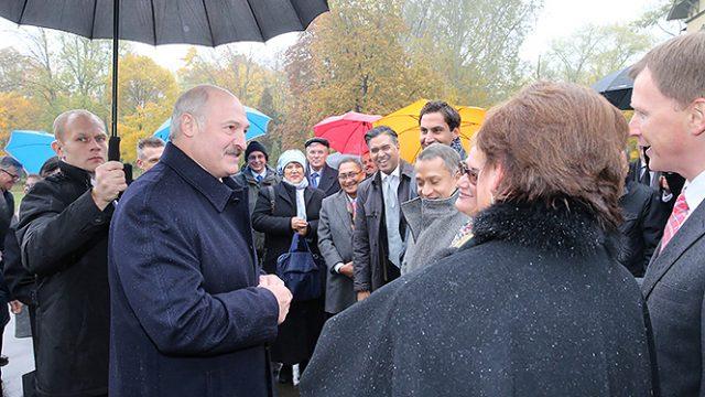 Лукашенко посадил Дерево мира в Лошицком парке Минска