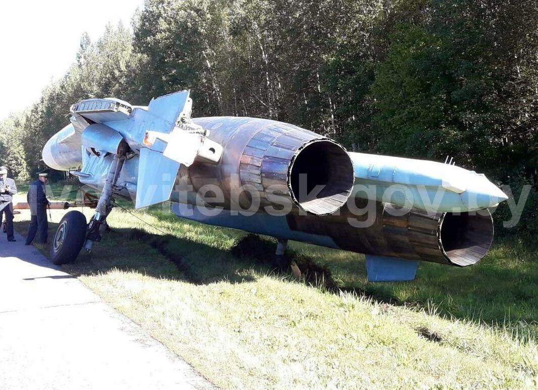 ВОршанском районе военный самолёт СУ-27 оказался вкювете